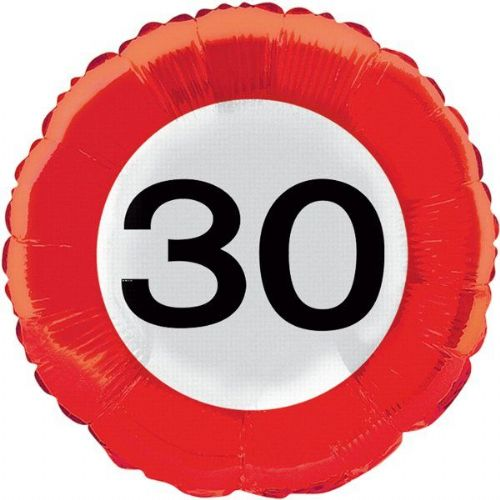 Traffic Sign 30th Party Foil Balloon Packet Birthday Helium Decoration